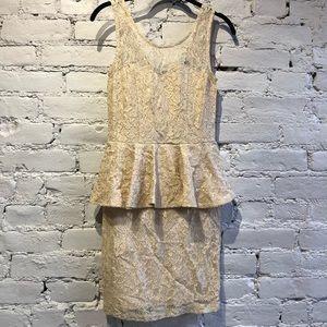 Dresses & Skirts - Tan lace peplum dress